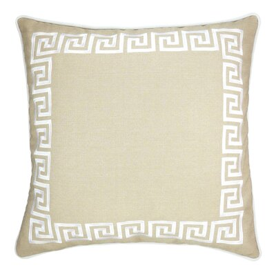 Wave Key Modern Greek Key Throw Pillow Color: Beige