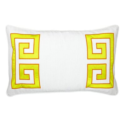 Parenthetikey Embroidered Greek Key Throw Pillow Color: Citron