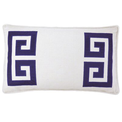 Parenthetikey Embroidered Greek Key Throw Pillow Color: Navy