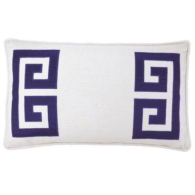 Parenthetikey Embroidered Greek Key Throw Pillow Color: Navy