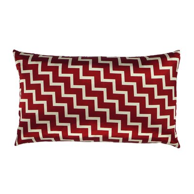 Stairs and Stripes Reversible Satin Lumbar Pillow Color: Red