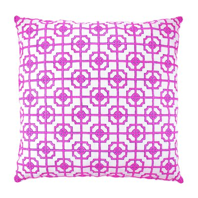 Lattice Fretwork Chinoserie Embroidered Throw Pillow Color: Pink