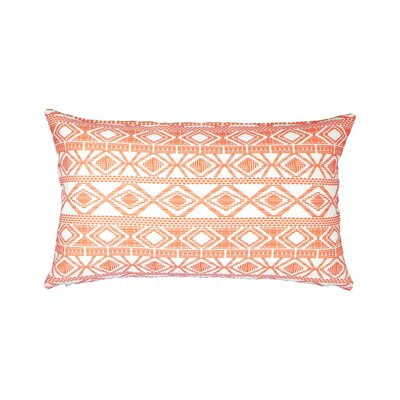 Printed Linen Lumbar Pillow Color: Red