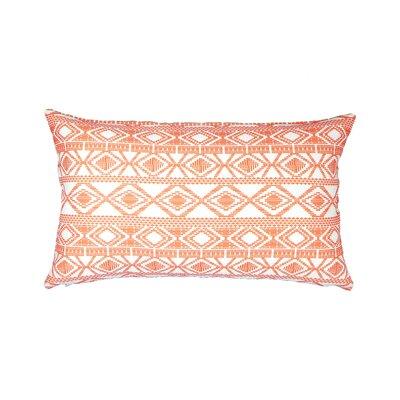 Printed Linen Lumbar Pillow Color: Red