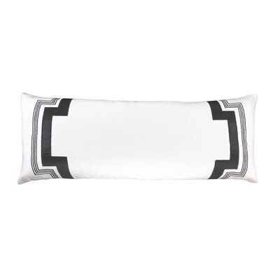 Embroidered Long Linen Lumbar Pillow Color: Re-keyed White with Black