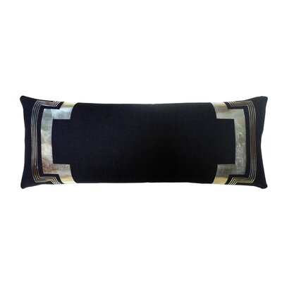 Embroidered Long Linen Lumbar Pillow Color: Black / Silver