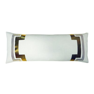 Embroidered Long Linen Lumbar Pillow Color: White / Gold