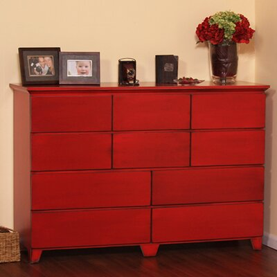 Flat Shaker 10 Drawer Dresser Color: Natural Teak