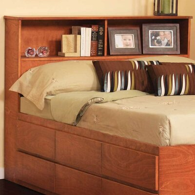 Bookcase Headboard Size: Queen, Color: Natural Teak
