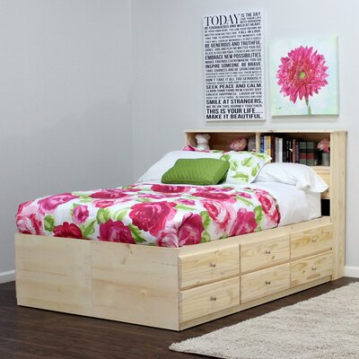 Platform Bed Size: Queen, Color: Natural