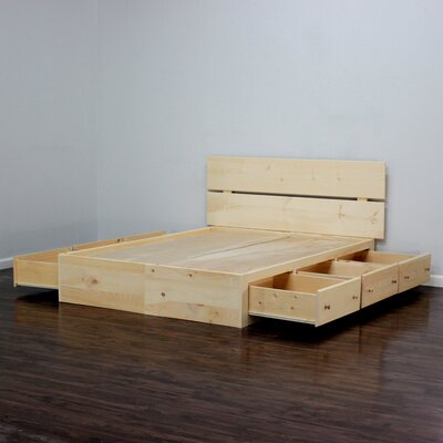 Captains Storage Platform Bed Size: Full, Color: Unfinished