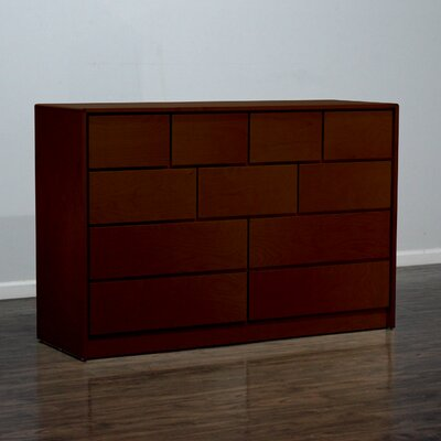 Art Deco 11 Drawer Standard Dresser Color: Antique Cherry