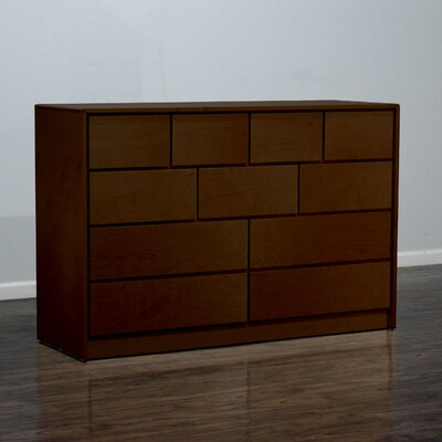 Art Deco 11 Drawer Standard Dresser Color: Natural Teak