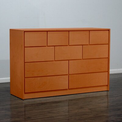 Art Deco 11 Drawer Standard Dresser Color: Colonial Maple