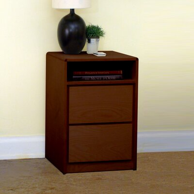 Art Deco 2 Drawer Nightstand Color: Natural Teak