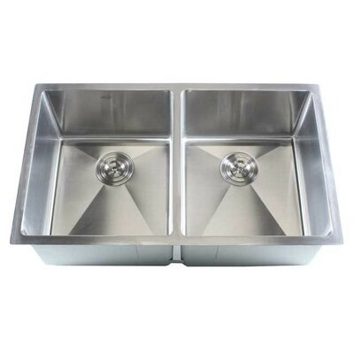 Ariel 32 x 19 Double Bowl Undermount Kitchen Sink