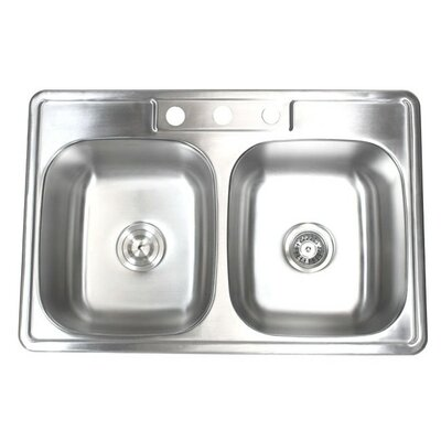 33 x 22 Double Bowl Kitchen Sink