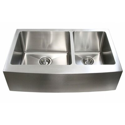 Ariel 32.88 x 20.75 Stainless Steel Farmhouse Kitchen Sink