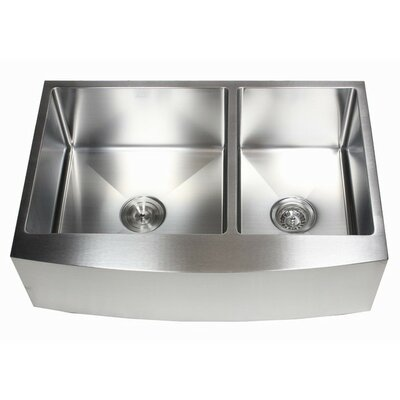 Ariel 33 x 21 60/40 Double Bowl Farmhouse Kitchen Sink