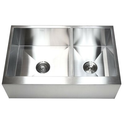 Ariel 33 x 21 Stainless Steel 60/40 Double Bowl Farmhouse Kitchen Sink