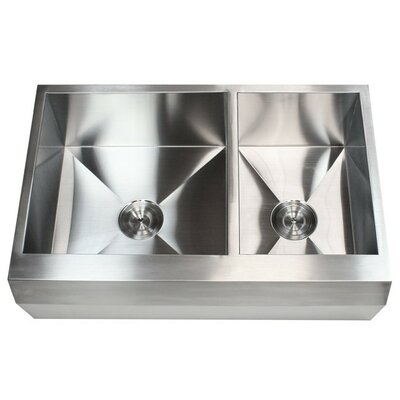 Ariel 33 x 22 Stainless Steel 16 Gauge 60/40 Double Bowl Farmhouse Kitchen Sink