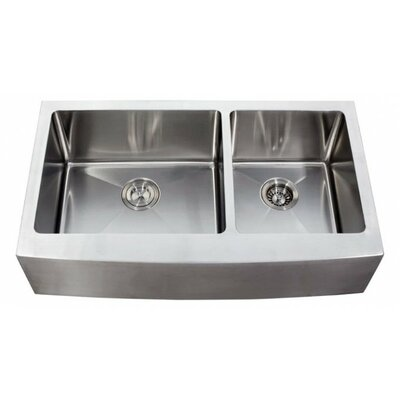 Ariel 35.88 x 20.75 Stainless Steel 16 Gauge 60/40 Double Bowl Farmhouse Kitchen Sink