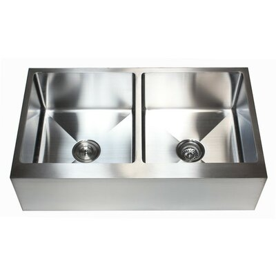 Ariel 36 x 21 Stainless Steel 50/50 Double Bowl Farmhouse Kitchen Sink