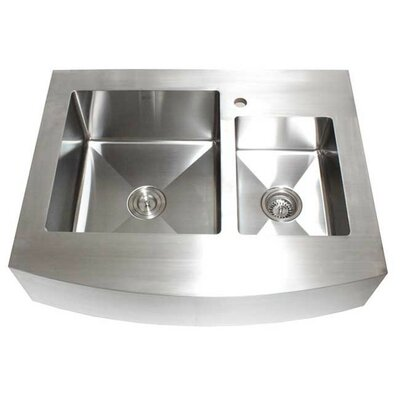 Ariel 36 x 26.25 Stainless Steel 60/40 Double Offset Bowl Farmhouse Kitchen Sink
