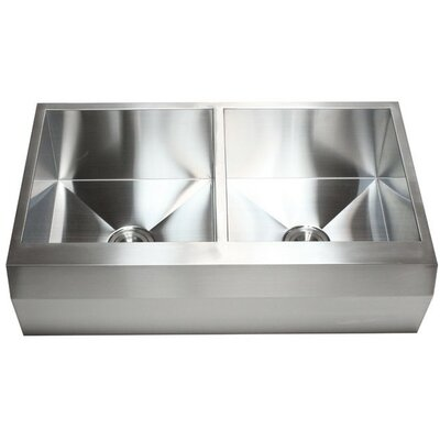 Ariel 36 x 22 Stainless Steel 16 Gauge 50/50 Double Bowl Farmhouse Kitchen Sink