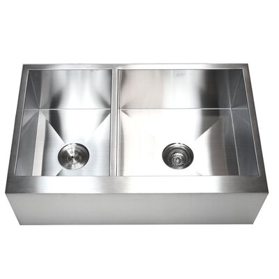 Ariel 33 x 21 Stainless Steel 40/60 Double Bowl Farmhouse Kitchen Sink
