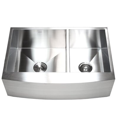 Ariel 33 x 22 Stainless Steel 60/40 Double Bowl Farmhouse Kitchen Sink