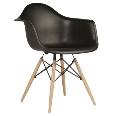 Mid Century Modern Scandinavian Solid Wood Dining Chair Finish: Black