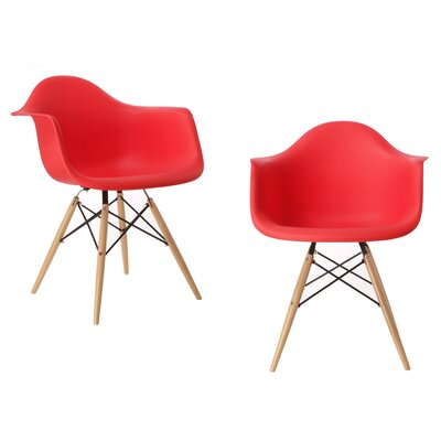 Mid Century Modern Scandinavian Solid Wood Dining Chair Finish: Red