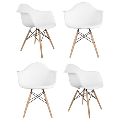 Mid Century Modern Scandinavian Solid Wood Dining Chair Finish: White