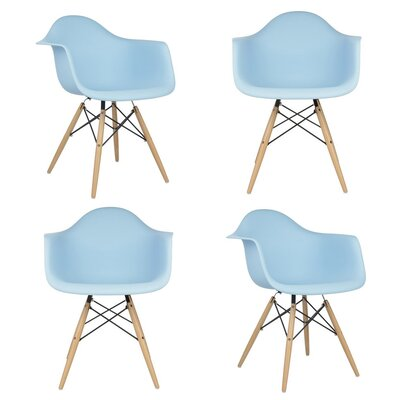 Mid Century Modern Scandinavian Solid Wood Dining Chair Finish: Light Blue