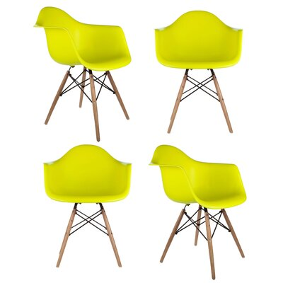 Mid Century Modern Scandinavian Arm Chair Finish: Light Yellow
