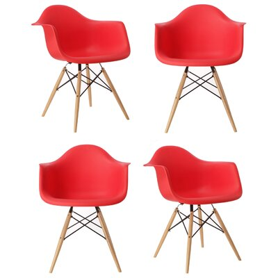 Mid Century Modern Scandinavian Arm Chair Finish: Red