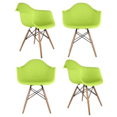 Mid Century Modern Scandinavian Solid Wood Dining Chair Finish: Green