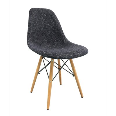 Mid Century Modern Woven Fabric Upholstered Side Chair Finish: Black