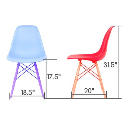 Whiteaker Molded Plastic Dining Chair Color: White/Beech Wood