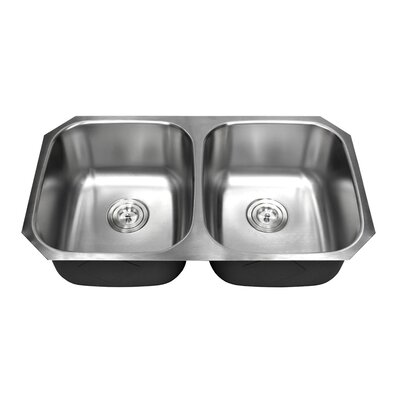 Ariel Pearl 32.25 x 18.5 Double Bowl Kitchen Sink