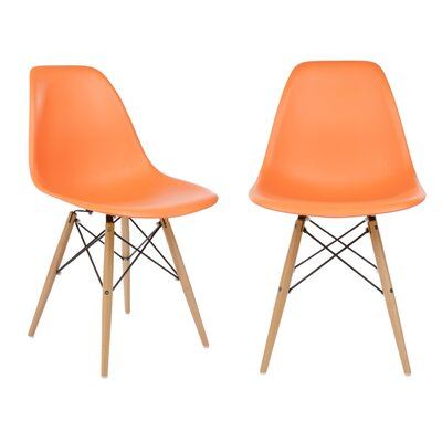 Harrison Solid Wood Dining Chair Seat Finish: Orange, Leg Finish: Beech