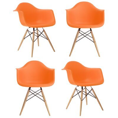 Mid Century Modern Scandinavian Solid Wood Dining Chair Finish: Orange