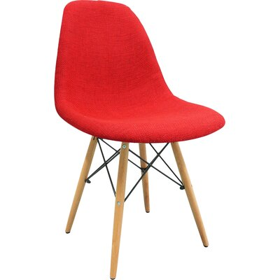 Mid Century Modern Woven Fabric Upholstered Side Chair Finish: Red