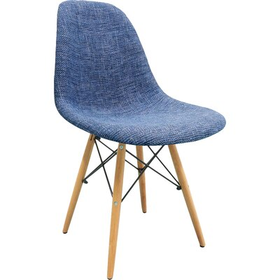 Mid Century Modern Woven Fabric Upholstered Side Chair Finish: Blue