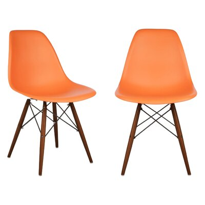 Harrison Solid Wood Dining Chair Seat Finish: Orange, Leg Finish: Walnut