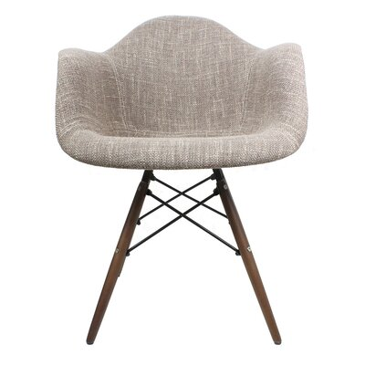Arm Chair Finish: Walnut, Upholstery: Woven - Brown