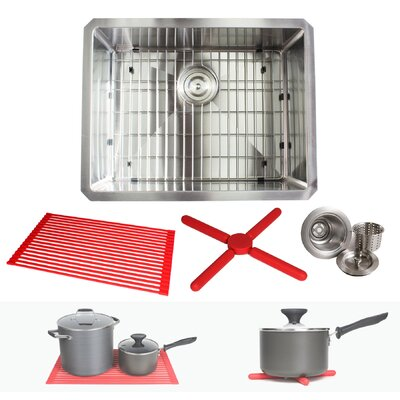 Ariel Premium Stainless Steel 23 x 18 Undermount Kitchen Sink with Sink Grid and Drain Assembly
