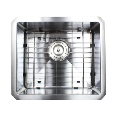 Ariel Premium Stainless Steel 17 x 15 Undermount Kitchen Sink with Sink Grid and Drain Assembly
