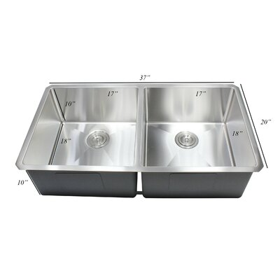 Ariel Premium Stainless Steel 37 x 20 Double Basin Undermount Kitchen Sink with Sink Grid and Drain Assembly